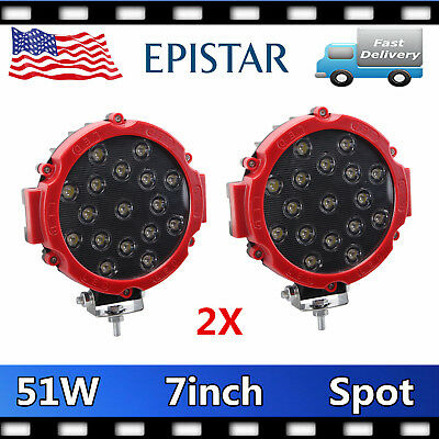 2X 7inch 51W Round Led Light Spot Work OffRoad Truck Bumper Driving 4WD Red Thin