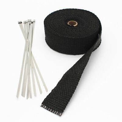 Black Exhaust Heat Wrap Manifold Downpipe High Temp Bandage 10M Tape Roll 10Tie
