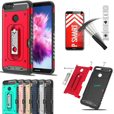 Heavy Duty Impact Case Shockproof Card Slot KickStand Cover For Huawei P Smart