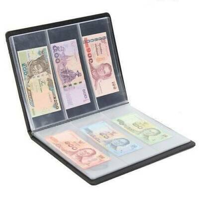 60 Pockets Leather Notes Album Banknote Paper Money Collection Stamps Book New