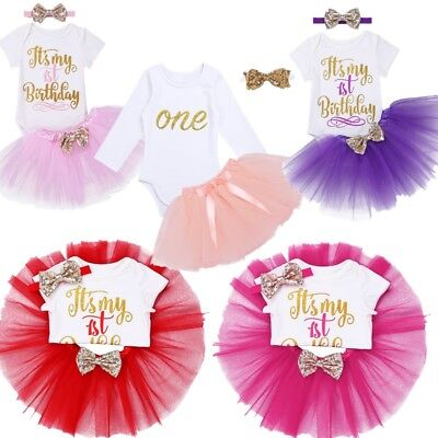 Baby Girls Birthday Outfit Casual Romper Tutu Skirt Dress With Headband Party