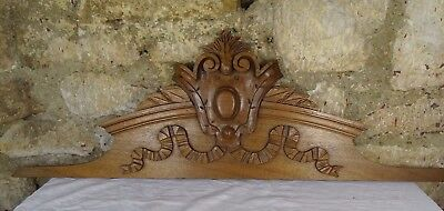 "39"" French Antique Pediment -Crest In Solid Walnut Wood Salvage Ribbon"