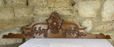 """47.25"""" Antique French Hand Carved Pediment Architectural Solid Oak Wood Crest"""