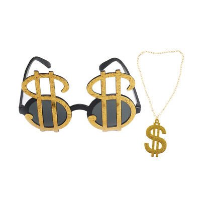 2pcs Gold Dollar Pimp Ring Sunglasses Gangster Medallion Fancy Dress 70s