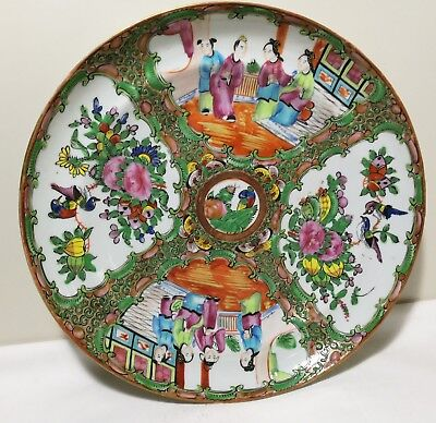 Antique 19th C China Export hand painted familie Rose porcelain plate Dia 24cm
