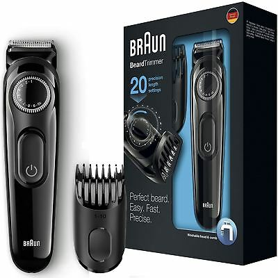 Braun BT3022 Beard/Hair Cordless Rechargeable Trimmer Shaver w Adjustable Length
