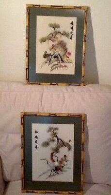 2 Vintage Chinese Embroidered Pictures Handmade Bamboo Style Frames Signed