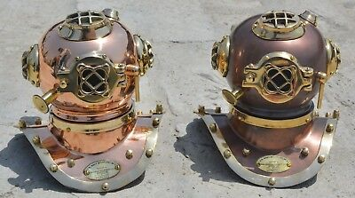 2 Pieces ANTIQUE MINI DIVING DIVERS HELMET SOLID BRASS U.S NAVY MARITIME SCUBA