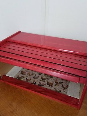 red painted wood roll top bread box chicken lined