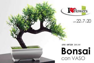 Bonsai Piantina H20 Cm Con Vaso Vasetto Pianta Finta Artificiale Ans 687228