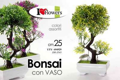 Bonsai Piantina 25 Cm Color Con Vaso Vasetto Pianta Finta Artificiale Uty 694929