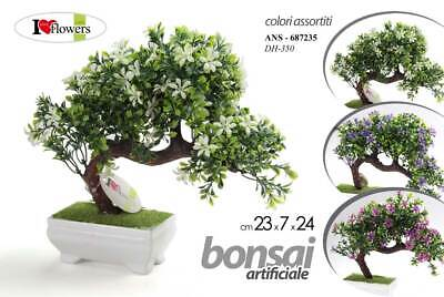 Bonsai Piantina 24 Cm Color + Vaso Vasetto Pianta Finta Artificiale Uty 687235