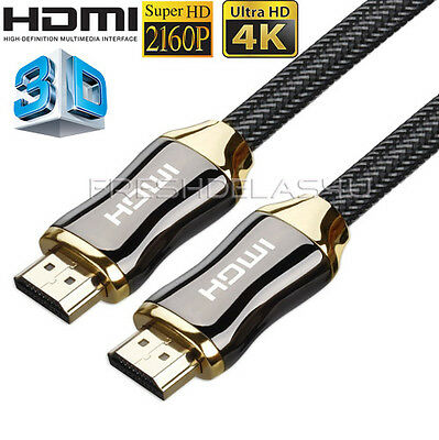 NEW 4K HDMI Cable 2.0 High Speed Gold Plated Braided Lead 2160p 3D HDTV UHD