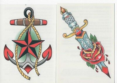 Two Nautical Temporary Tattoos Anchor  & Dagger Rose Vintage Traditional Tatoos