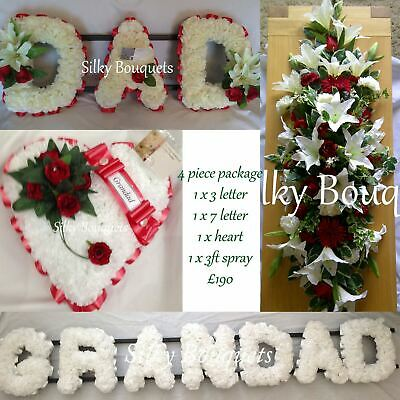 Dad Silk Funeral Flower Package Grandad Artificial Heart Wreath Spray Tribute