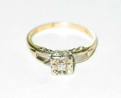 14k Yellow/WhiteGold Antique Art Deco Diamond Engagement Ring Illusion Solitaire