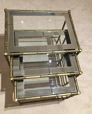 Vintage Italian Brass Bamboo Nesting Tables