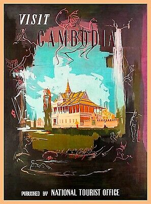 Visit Cambodia Southeast Asia Vintage Travel Decor Advertisement Poster Print