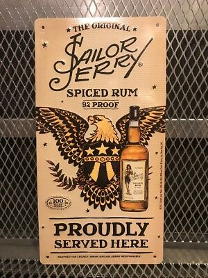SAILOR JERRY SPICED RUM ~ Eagle Tattoo RARE 2011 Metal Tin Advertising Sign