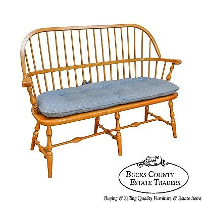 Ethan Allen Solid Maple Windsor Style Bench (B)