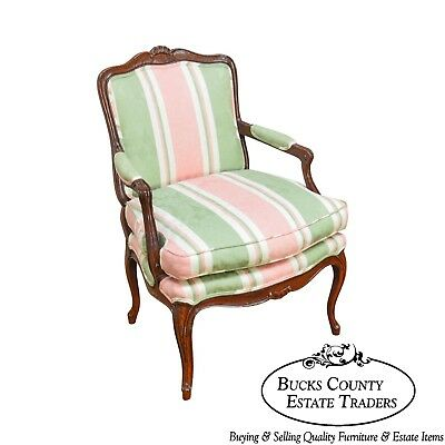 French Louis XV Style Custom Quality Fauteuil Arm Chair