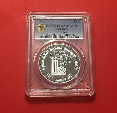 Lebanon 10 L,RARE Silver Proof ,winter Olympic 1980,Graded NGC PF65...rare.