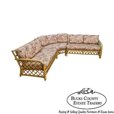 Ficks Reed Vintage Rattan Bamboo Sectional Sofa