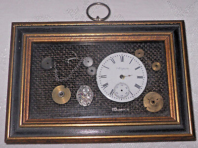 VTG Framed Antique/Old Pocket/Watch Parts Art Collage Steampunk Style Wall Decor