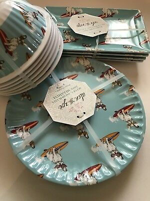 Alex And Zoe Boston Terrier Frenchie MELAMINE Dish Set Outdoor Dishes