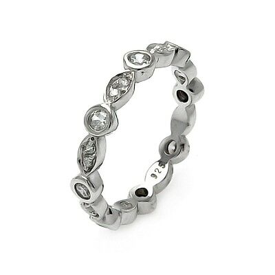 Sterling Silver Ladies Round & Marquise Shaped CZ Stones Stackable Eternity Ring