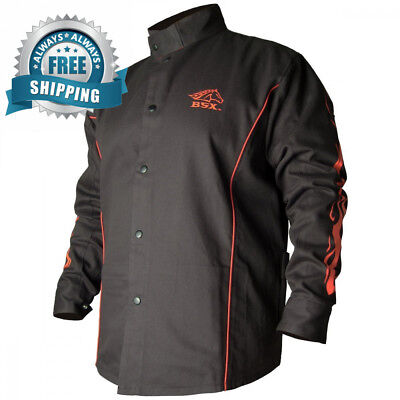 BLACK STALLION BSX® FR Welding Jacket - Black w/Red Flames MEDIUM