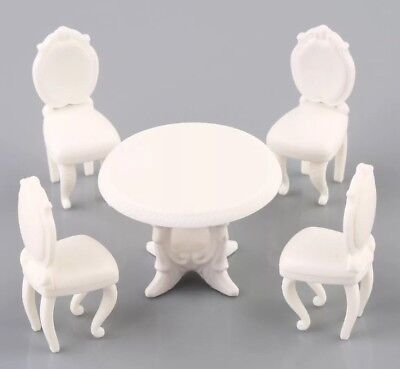 Dollhouse Miniature Kitchen Set Table 4 Chairs White 1:12 Scale 2-5cm US Seller