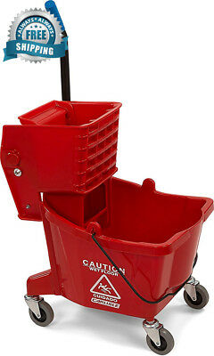 Carlisle 3690805 Commercial Mop Bucket With Side Press Wringer, 26 Quart...