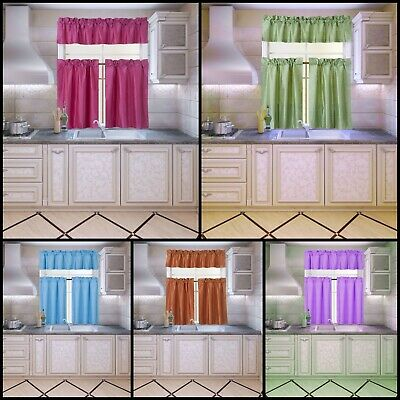"""2PC 30"""" x 36"""" Window Curtain Black Backing Thermal Lined Blackout Panels TOM"""
