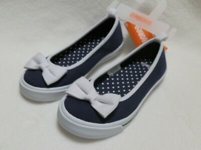 NEW Gymboree Girls Navy Blue White Bow Canvas Shoes Ballet Flats size 9 or 13