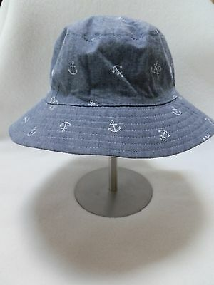 NEW Gymboree Toddler Boys Sun Hat Blue Nautical Anchors sz 12-24mo or 4T-5T
