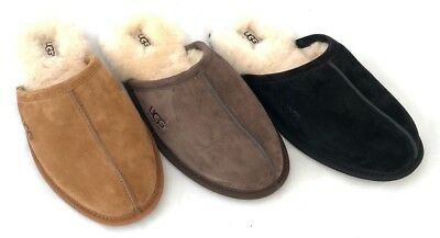 c5a83c23ae5 UGG MENS SCUFF Slippers Water Resistant Suede Black, Chestnut, and Espresso