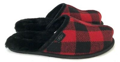 8aed25cd705 UGG MENS SCUFF Plaid Wool Slippers Red and Black