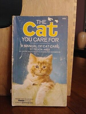 Friskies The Cat You Care For 1968 Book Hand Written Notes, Cute Color Photos