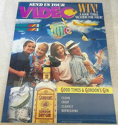 Gordon's London Dry Gin / 1980's Vintage Good Times Poster Mint Man Cave