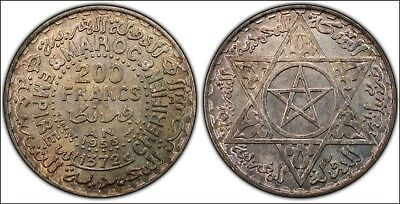 1953 Silver Morocco  200 Francs -- LOOKS UNCIRCULATED