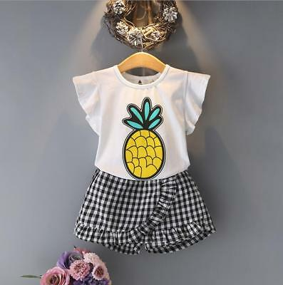 Summer Toddler kids baby girls outfits cotton Tee+Shorts Pants clothes Set fruit