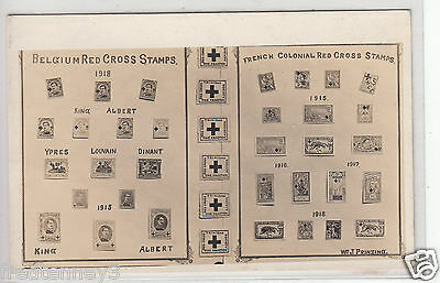 RPPC - Belgium & French Red Cross Stamp Display - early 1900s