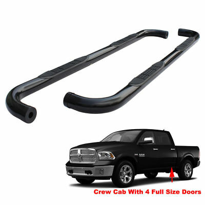 """3"""" BLK Running Boards For 09-18 Ram 1500 10-18 2500/3500 Crew Cab Side Step Bar"""