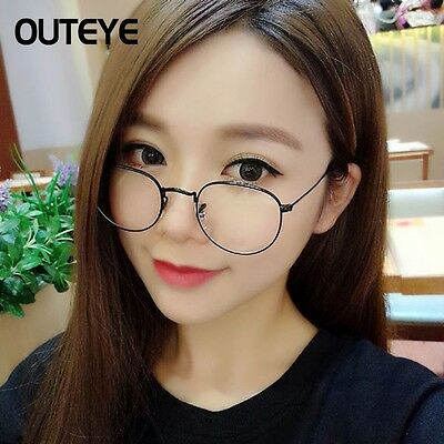 Oval Round Metal frame Clear lens Fashion Glasses Unisex Full-Rim Spectacles AO