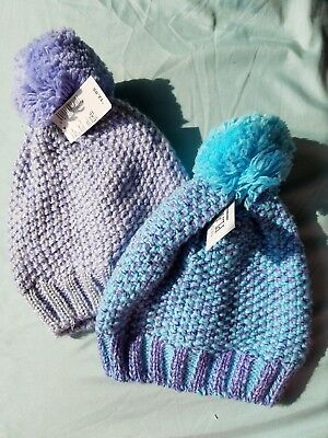 Set of 2 The Children's Place Knit Pom Pom Hats, Periwinkle & Blue Sparkle 8yrs+