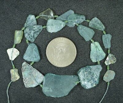 Ancient Roman Glass Beads 1 Medium Strand Aqua And Green 100 -200 Bc 873