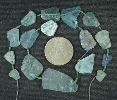 Ancient Roman Glass Beads 1 Medium Strand Aqua And Green 100 -200 Bc 874