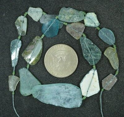 Ancient Roman Glass Beads 1 Medium Strand Aqua And Green 100 -200 Bc 875