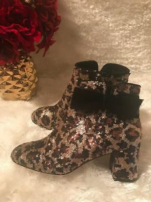 08d5a86179f5a Kate Spade Women's Langley Bow Sequin Leopard Ankle Bootie Size 6.5 MSRP  $350